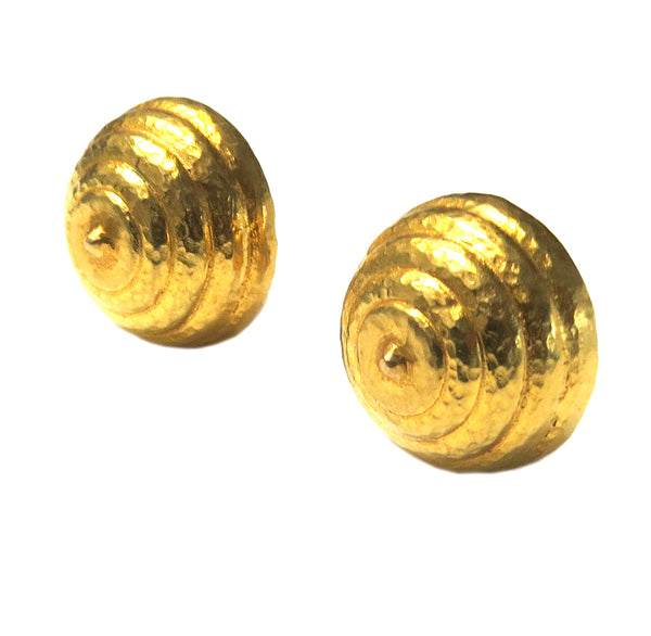 Ilias Lalaounis Gold Beehive Swirl Earrings