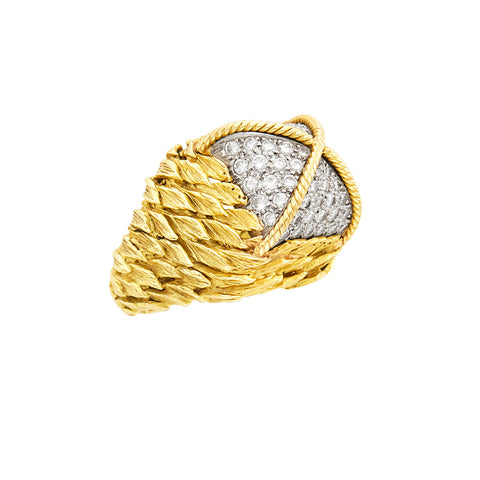 David Webb Leaf Motif Gold Platinum Diamond Ring