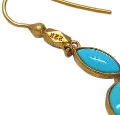 Cathy Waterman Gold Diamond Turquoise Earrings