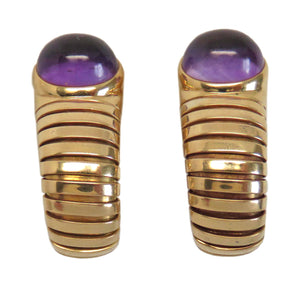 Bulgari Tubogas Gold Amethyst Earrings