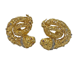 Ilias Lalaounis Gold Diamond Ruby Chimera Earrings