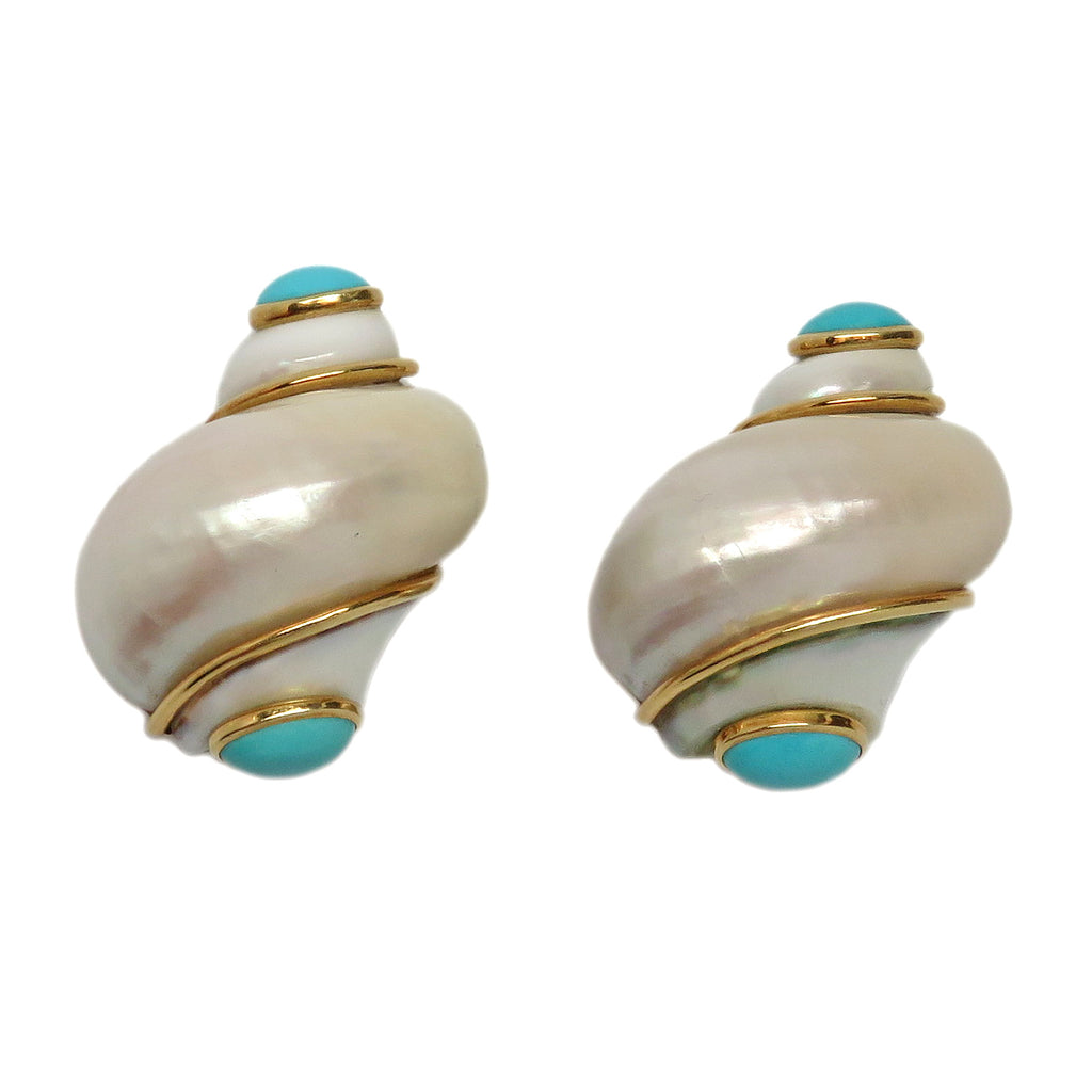Seaman Schepps Gold Turquoise Turbo Shell Earrings