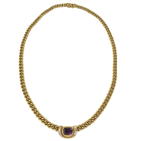 Bulgari Gold Diamond Amethyst Pendant Necklace