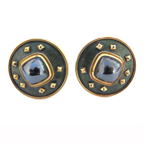 De Vroomen Enamel Hematite Gold Earrings