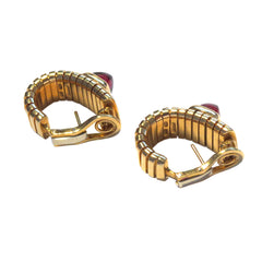 Bulgari Tubogas Rhodolite Garnet Gold Earrings