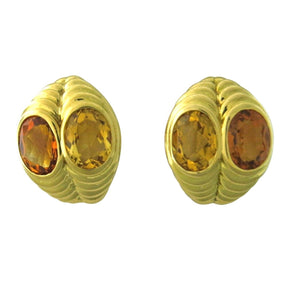 Bulgari Gold Citrine Ribbed Earrings