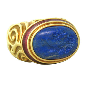 Elizabeth Gage Carved Gold Lapis Lazuli Enamel Ring
