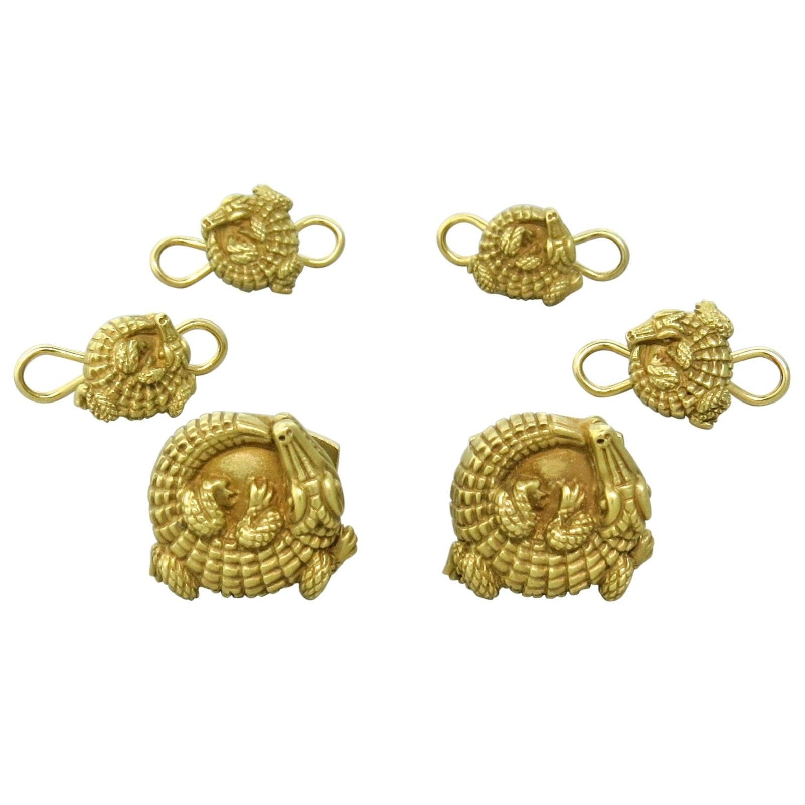 Kieselstein Cord Gold Alligator Cufflinks and Studs Set