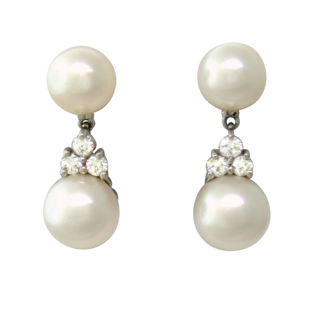 Tiffany & Co Aria Collection Platinum Diamond Pearl Drop Earrings