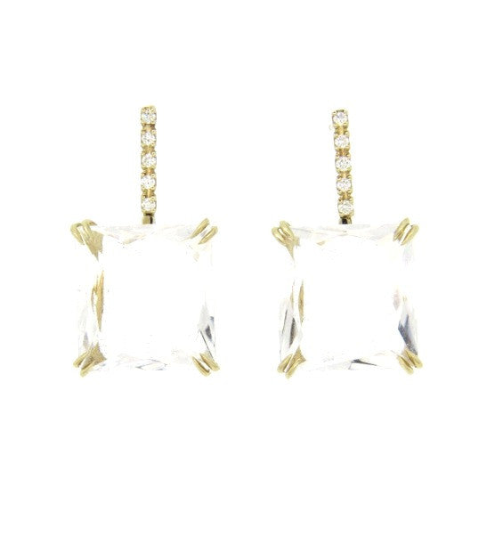 H. Stern Cobblestone Gold Diamond Crystal Quartz Earrings