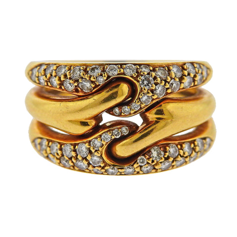 Bulgari Gold Diamond Three Band Ring