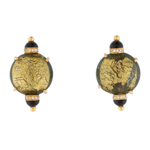 Lotus Arts de Vivre Gold Glass Onyx Diamond Earrings