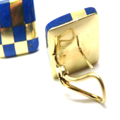 1980s Tiffany & Co. Angela Cummings Gold Lapis Checkered Earrings