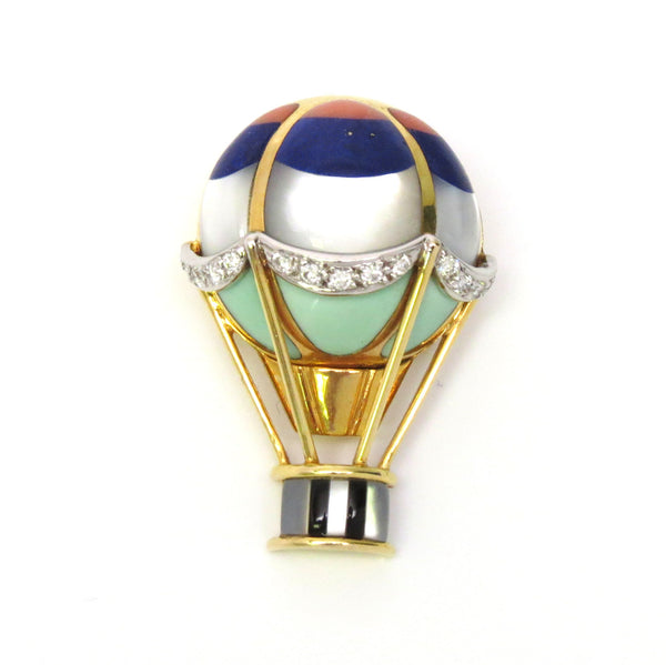 Asch Grossbardt Gold Diamond Gemstone Hot Air Balloon Brooch Pin