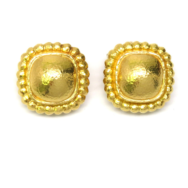 Elizabeth Locke Large Square Cushion Gold Earrings With Crenelated Bezel