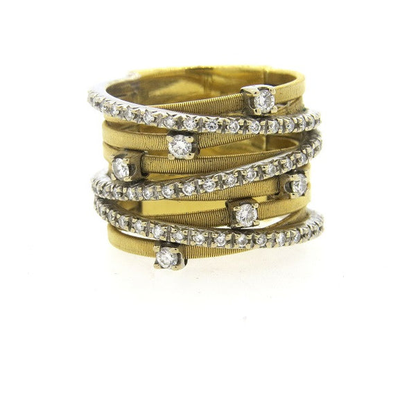 Marco Bicego Goa 9 Row Gold Diamond Ring