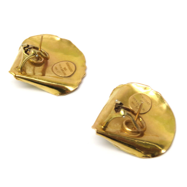 1970's Tiffany & Co. Angela Cummings Gold Rose Petal Earrings