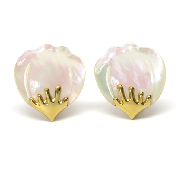 Tiffany & Co Gold Mother of Pearl Flower Petal Earrings