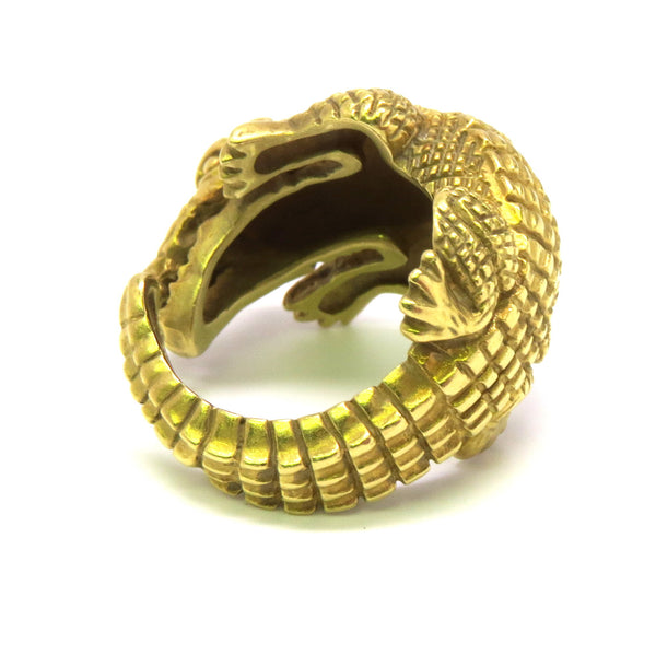 Kieselstein Cord Gold Alligator Ring
