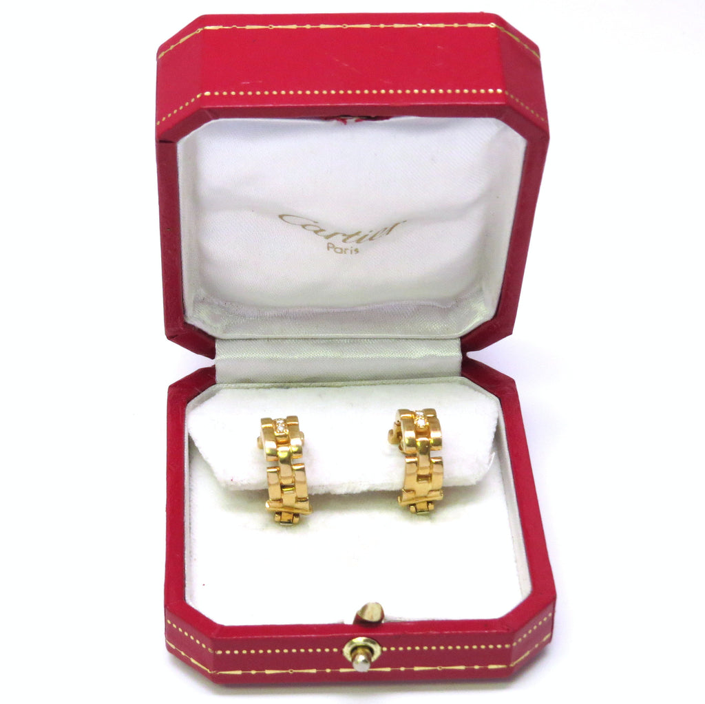 9d08fb52434a2 Cartier Maillon Panthere Gold Diamond Hoop Earrings – Stanley ...