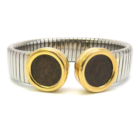 Bulgari Monete Ancient Coin Gold and Steel Tubogas Cuff Bracelet