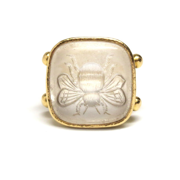 Elizabeth Locke Gold Crystal Intaglio Bee Ring