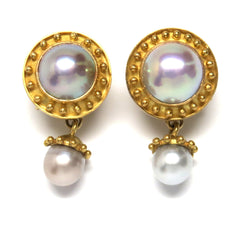 Elizabeth Locke Pearl Gold Earrings