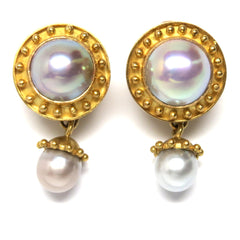 Elizabeth Locke Gold Pearl Drop Earrings