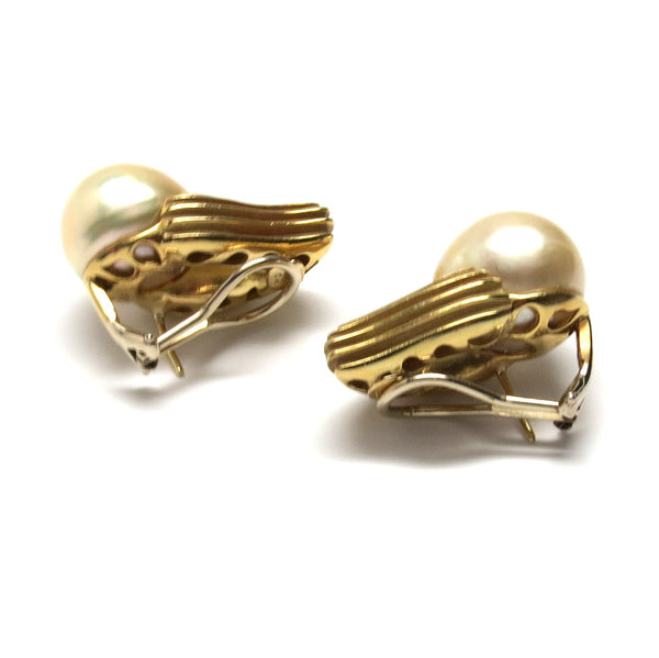 Christopher Walling Gold South Sea Pearl Diamond Earrings