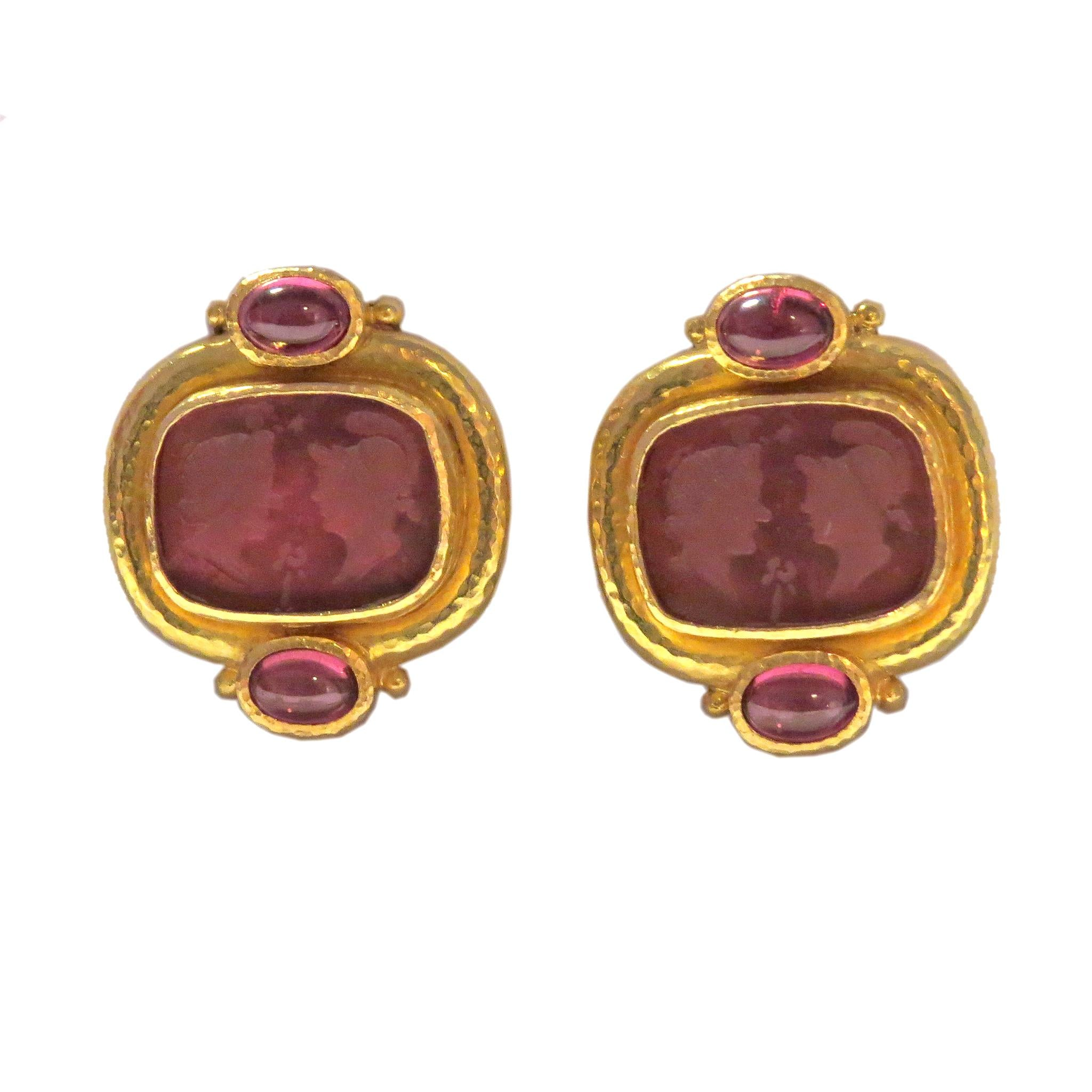 Elizabeth Locke Gold Venetian Glass Intaglio Tourmaline Earrings