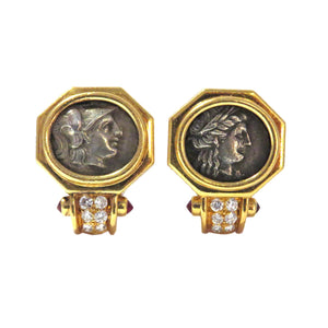 Bulgari Monete Ancient Coin Ruby Diamond Gold Earrings
