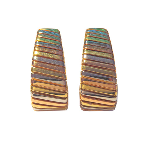 Bulgari Tubogas Large Tri Color Gold Earrings