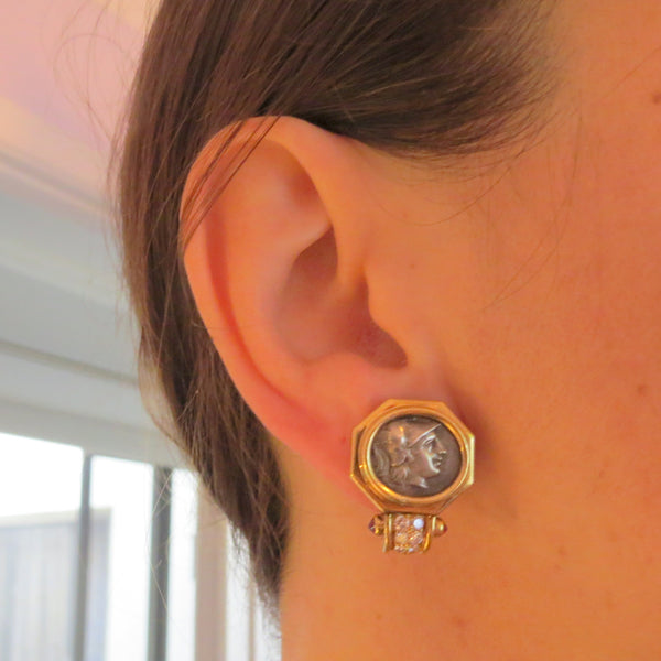 Bulgari Monete Coin Ruby Diamond Gold Earrings