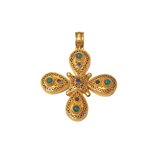 Ilias Lalaounis Gold Gemstone Cross Pendant Enhancer