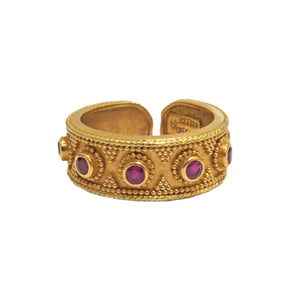 Ilias Lalaounis Gold Byzantine Ruby Cuff Ring