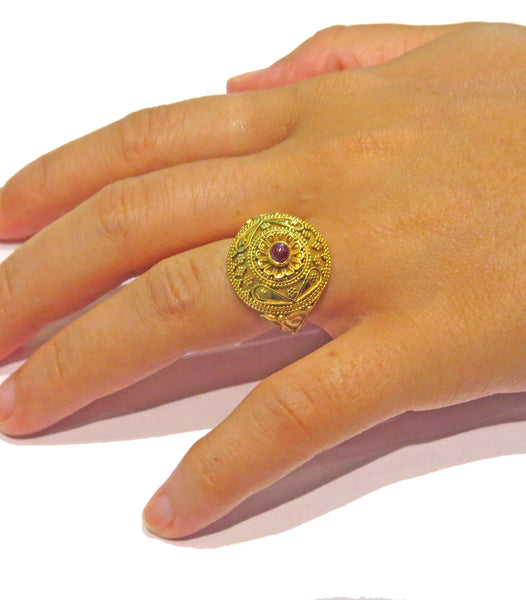 Ilias Lalaounis Gold Ruby Cabochon Ring
