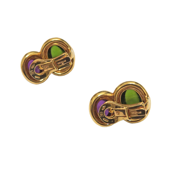 Bulgari Gold Amethyst Peridot Cabochon Earrings