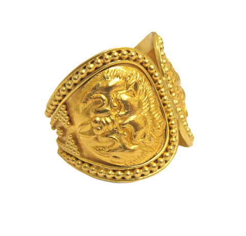 ILIAS LALAOUNIS LION MOTIF RING