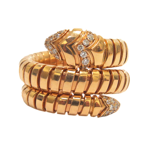 Bulgari Serpenti Tubogas Gold Double Spiral Diamond Ring