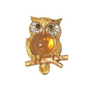 E. Wolfe & Co. Gold Cirtine Emerald Diamond Owl Brooch Pin