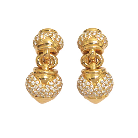 Bulgari Gold Diamond Drop Earrings