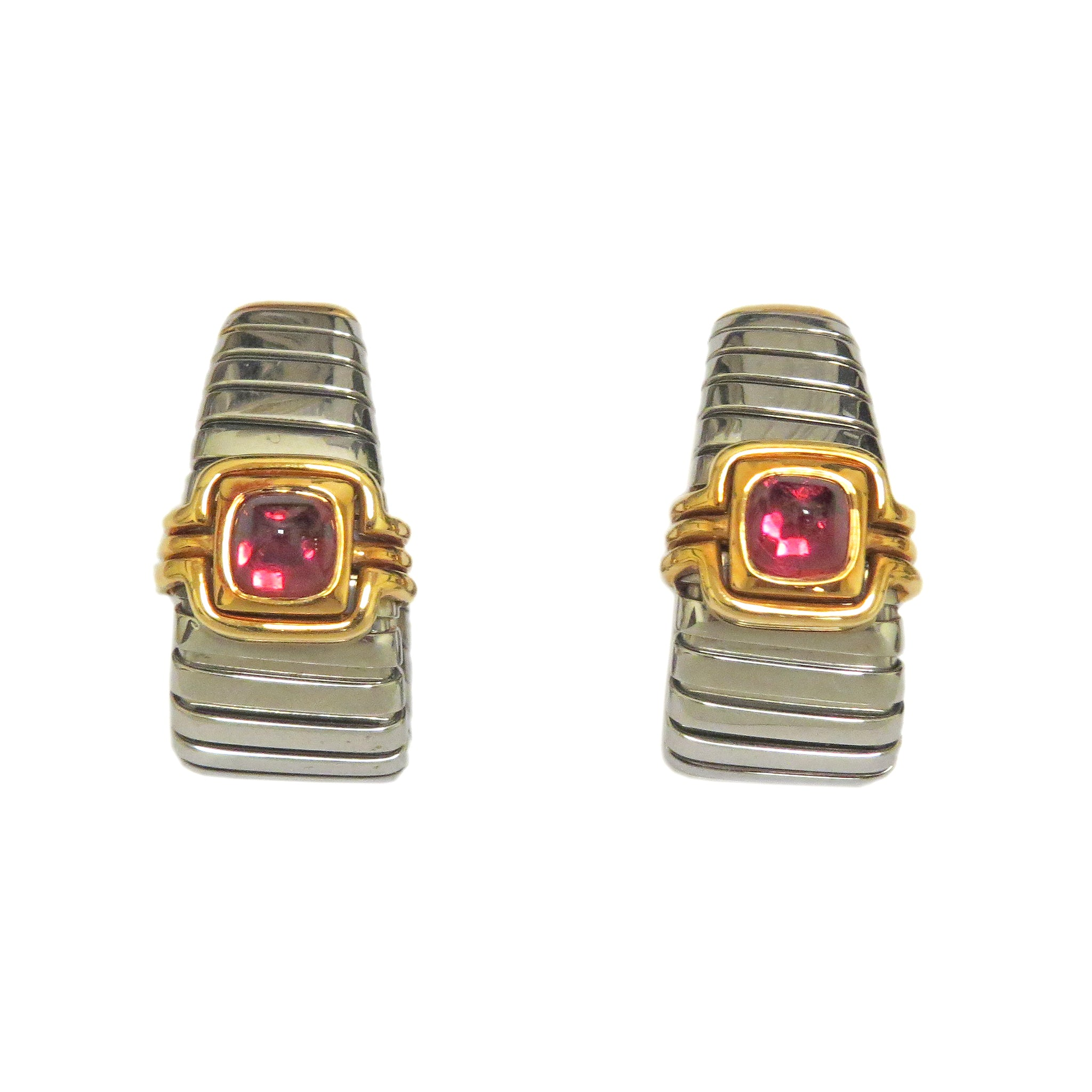 Bulgari Tubogas Gold and Steel Pink Tourmaline Earrings
