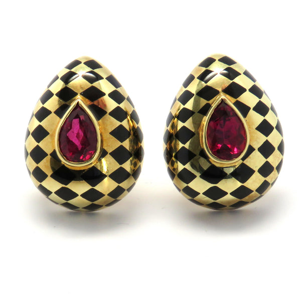 Angela Cummings Gold Pink Tourmaline Black Jade Earrings