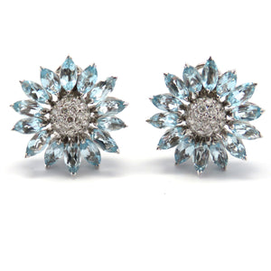 Asprey Aquamarine Diamond Daisy Earrings