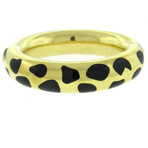 Tiffany & Co Angela Cummings Gold Black Jade Bangle Bracelet