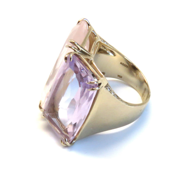 H. Stern Cobblestone Rose Quartz Amethyst Gold Diamond Ring