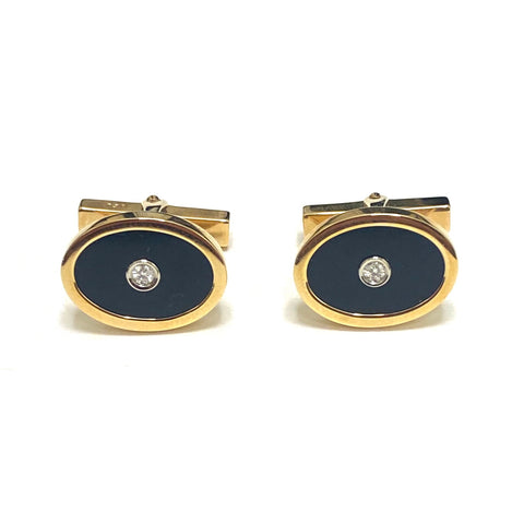 Tiffany & Co Gold Onyx Diamond Cufflinks
