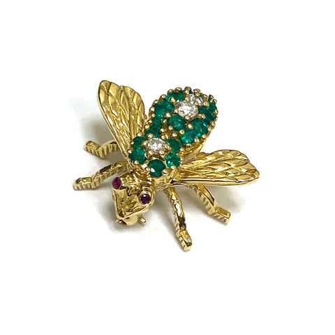 Herbert Rosenthal Gold Emerald Diamond Ruby Bee Pin