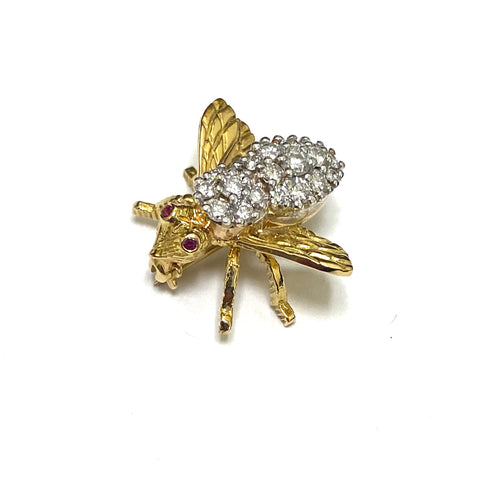 Herbert Rosenthal Gold Diamond Ruby Bee Pin