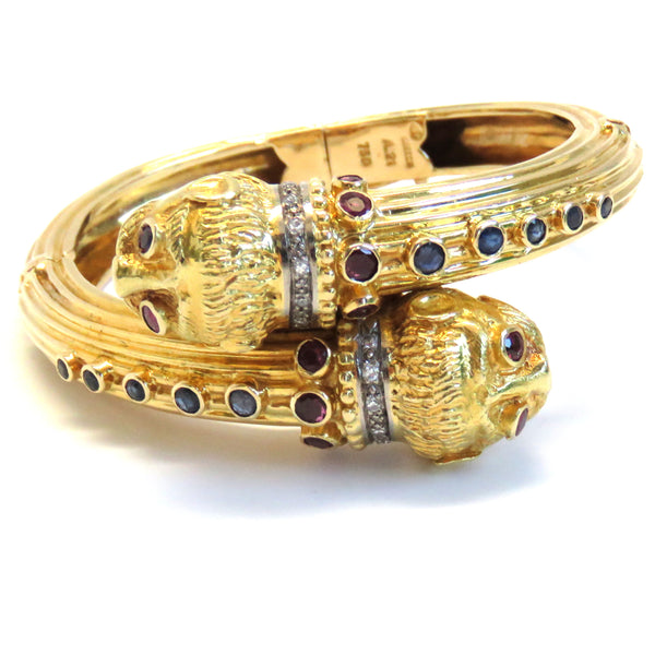 Ilias Lalaounis Gold Gemstone Bangle Bracelet
